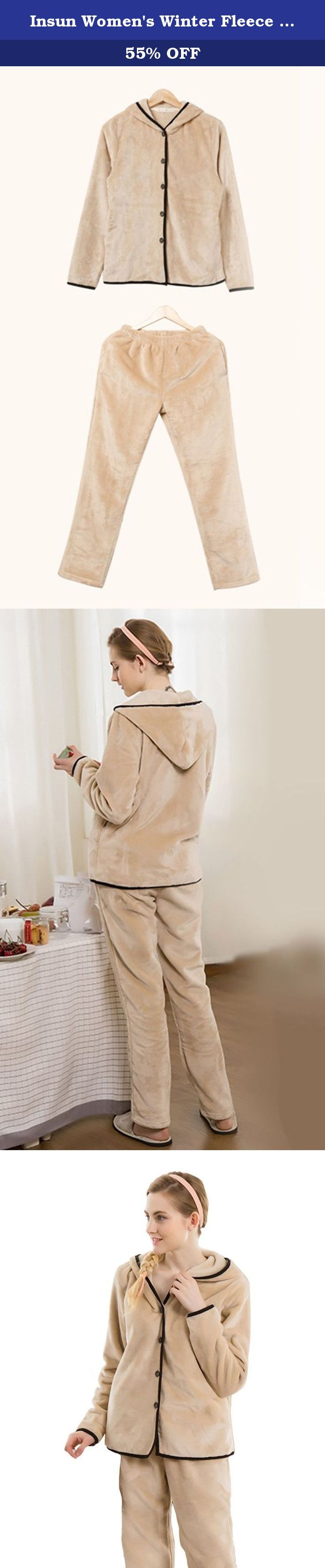 Insun Women's Winter Fleece Sleepwear Set Hoodie Flannel Pajamas Camel. Sweety hoodie fleece sleepwear set featuring button closure solid color thick pajamas,warm and soft in cold weather.