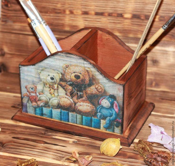 """Купить Карандашница """"Мишки"""" - коричневый, мишка, карандашница, подставка для карандашей, декупаж работы"""