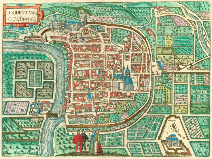Old, antique map of Trento by Braun and Hogenberg. | Sanderus Antique Maps