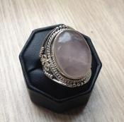 Zilveren edelsteen ring met Rozenkwarts ring maat 20 mm