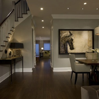 Gray with dark wood floors = perfect!