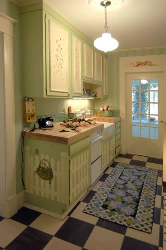 Cottage Chic Photo Gallery of painted kitchen cabinets - these may be too country, but worth a look