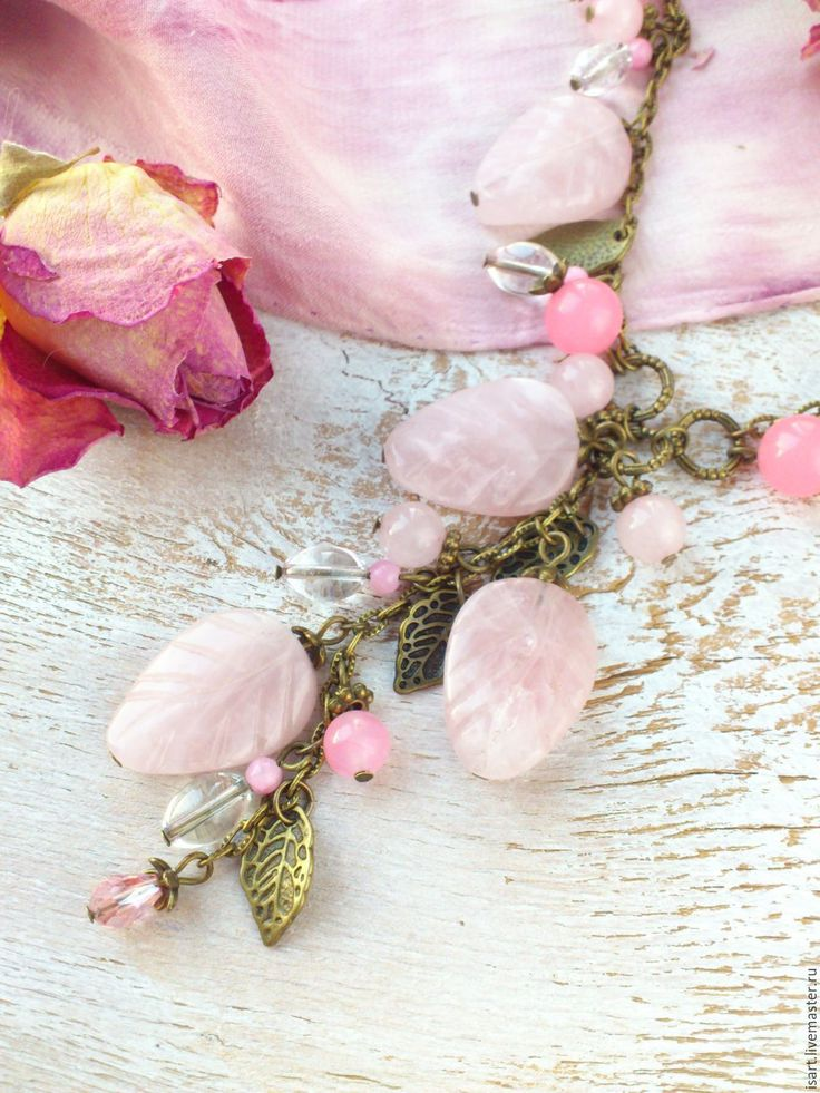 """Купить """"Розовые лепестки"""" Бусы из розового кварца. Бусы из натуральных камней - авторские украшения бусы"""