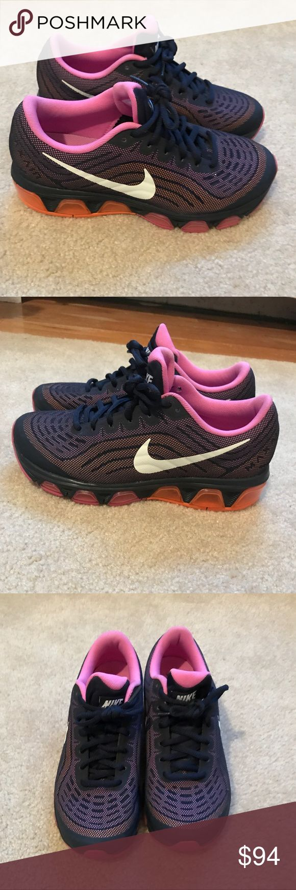 Nike air max navy pink and orange Women's Nike air max 2014. Very rare color. Navy blue with pink and orange accents. Navy blue laces. Excellent condition only worn a few times! No damage. Nike 6.5- usually wear a 6 in other shoe brands. Nike Shoes Sneakers