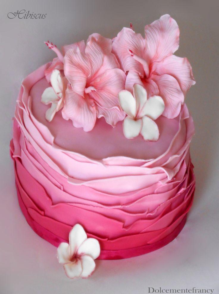 Hibiscus Cake - cake ruffle with hibiscus and frangipani in gumpaste