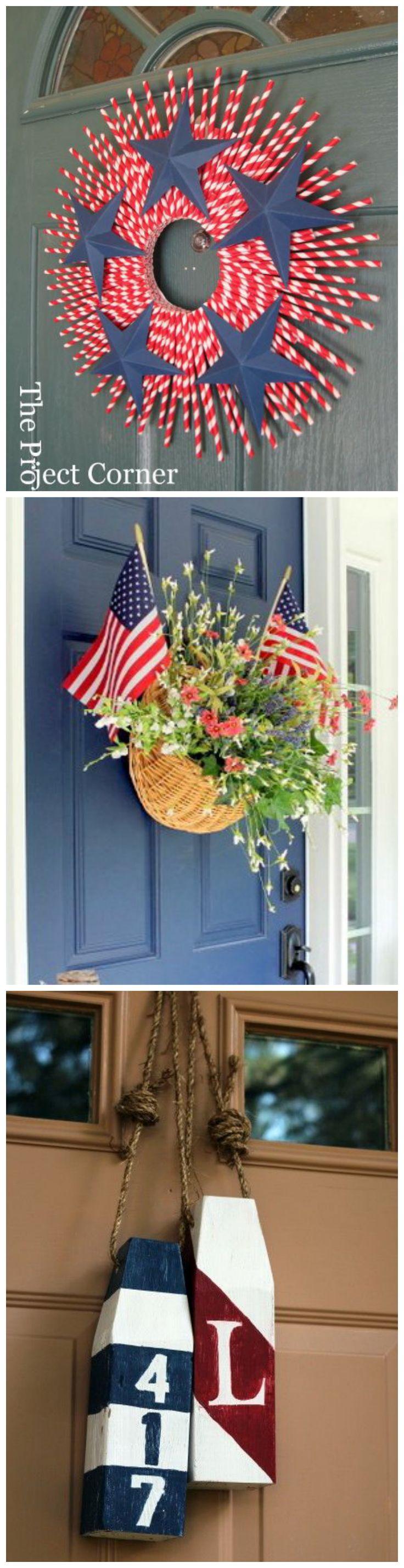 DIY American Door Decor - Patriotic Fourth of July Wreaths