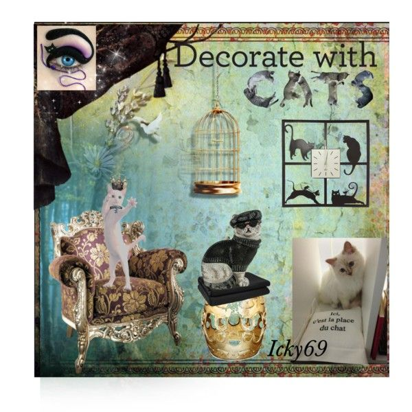 Cat by icky69 on Polyvore featuring interior, interiors, interior design, Casa, home decor, interior decorating, Jonathan Adler, JAG Zoeppritz, Judith Leiber and Karl Lagerfeld