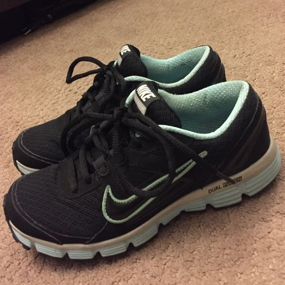 Black and Baby Blue Double Fusion Nike I've had these for a few years and worn about 10 times. Nike Shoes Athletic Shoes