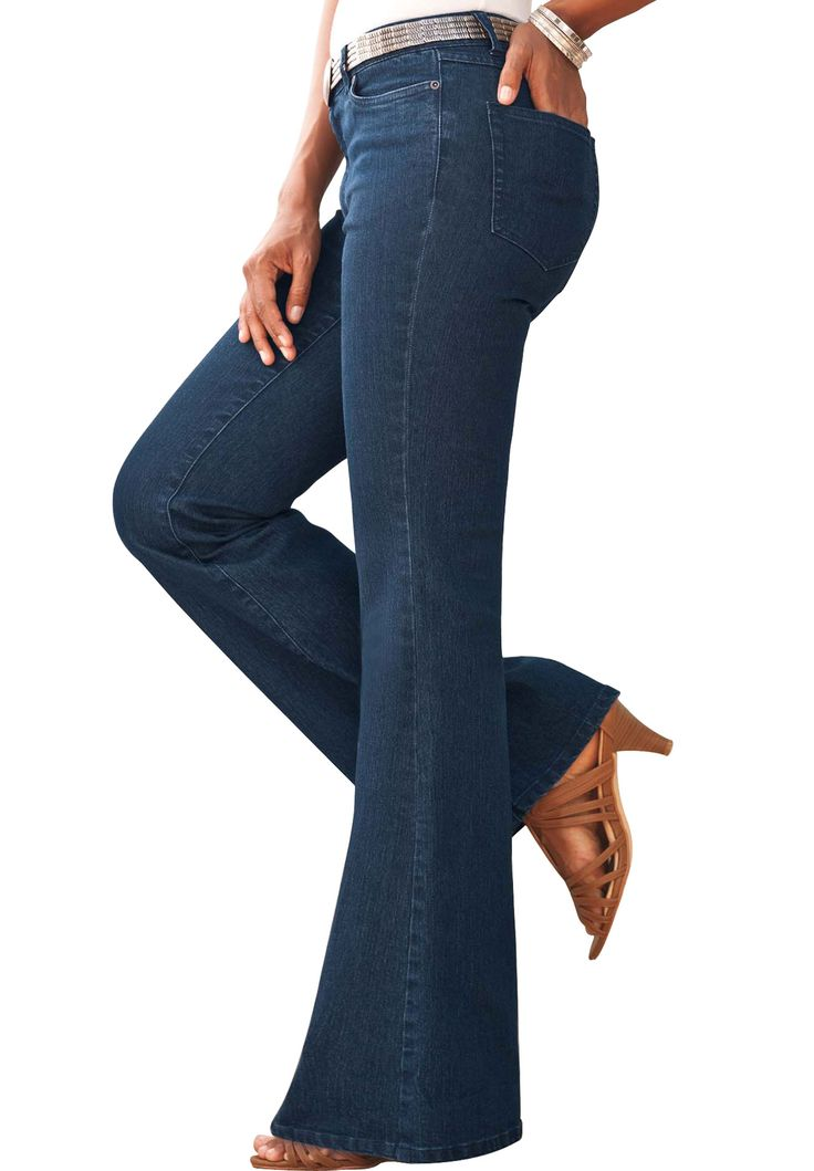 Shop Old Navy's Mid-Rise Micro-Flare Jeans for Women: Button closure with zip fly.,Scoop pockets with coin pocket in front; patch pockets in back.,Soft cotton blend, with stretch.