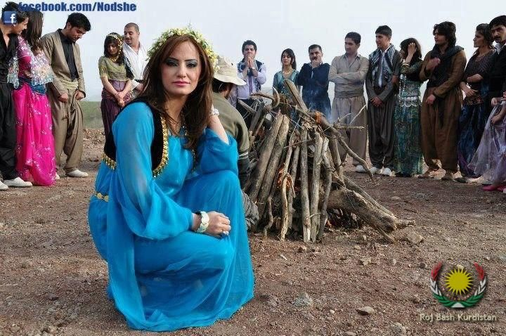 Young Kurdish People in traditional Costumes during the Newroz Celebration.