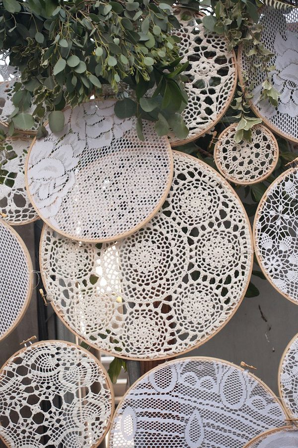 crochet lace embroidery hoops, photo by Zaugh Photography, styling by Sweet Emilia Jane http://ruffledblog.com/huron-substation-wedding #backdrops #weddingdiy #displays