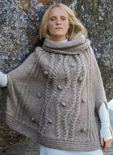 ♥ Cat. 12/13 - n° 565 Poncho Tricothèque, broderie & tricot - Taupe cabled poncho FREE pattern in French (hva)