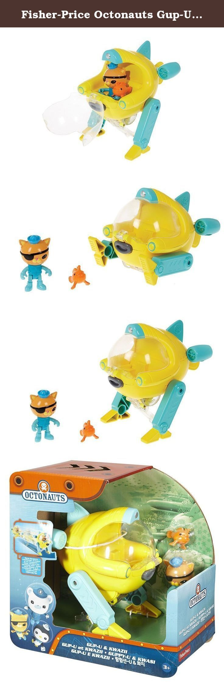 """Fisher-Price Octonauts Gup-U & Kwazii Toy. Inspired by the frogfish and featuring automatic transformation capabilities, the Octonauts' gup-u is a suitable vehicle for a variety of rescue missions. This agile Gup can quickly race forward and then automatically pop up and stand in """"patrol position"""", giving the crew a better view for scanning and spotting creatures in trouble. Just pull the Gup back and watch it go! includes kwazii, the gup-u and a frogfish to rescue. On the television show..."""