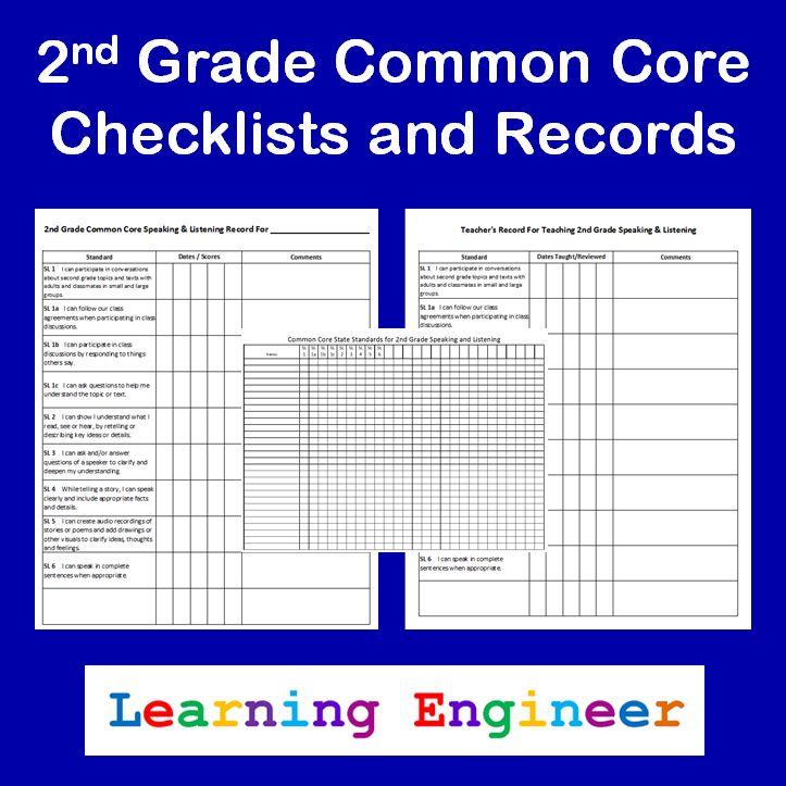 """Updated 2nd Grade CCSS """"I Can"""" Checklists"""