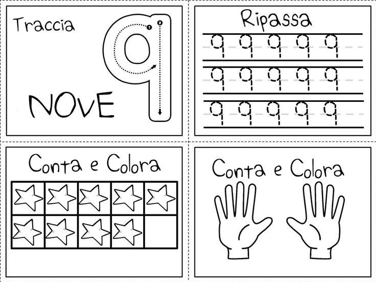 Schede di precalcolo tradotte dallo spagnolo.     Sono presenti tutti i numeri da 0 a 10     Nel primo quadrante il numero si può tracciare...