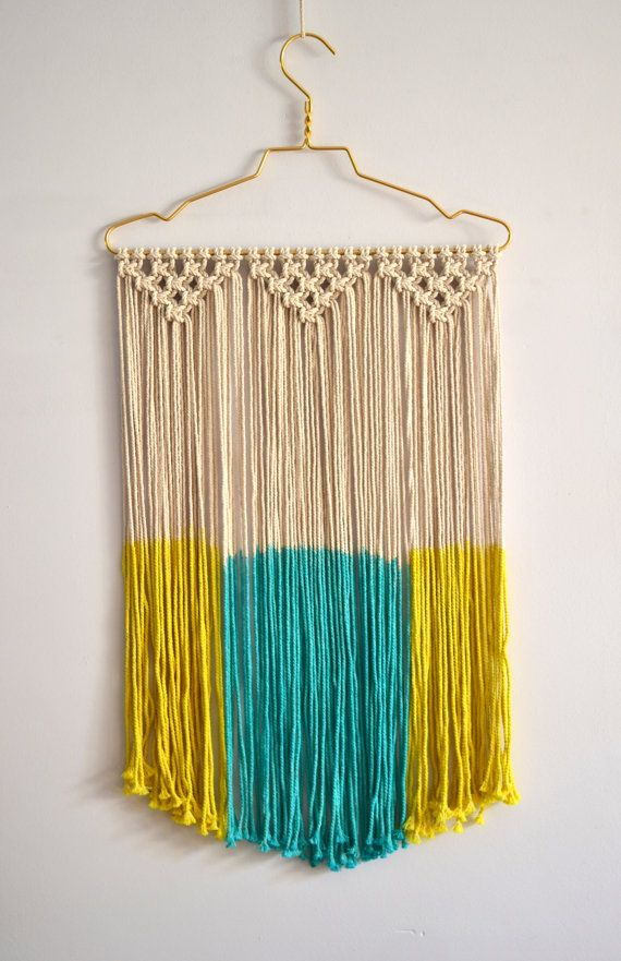 Macrame wall hanging, dip dye, modern macrame, wall art, wall decor, fiber art…