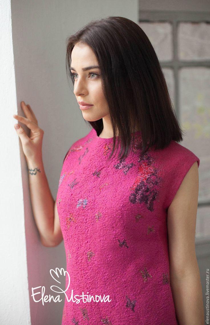 Купить Pink. Beautiful butterfly. - фуксия, рисунок, Малиновое платье, малиновый цвет, Платье нарядное