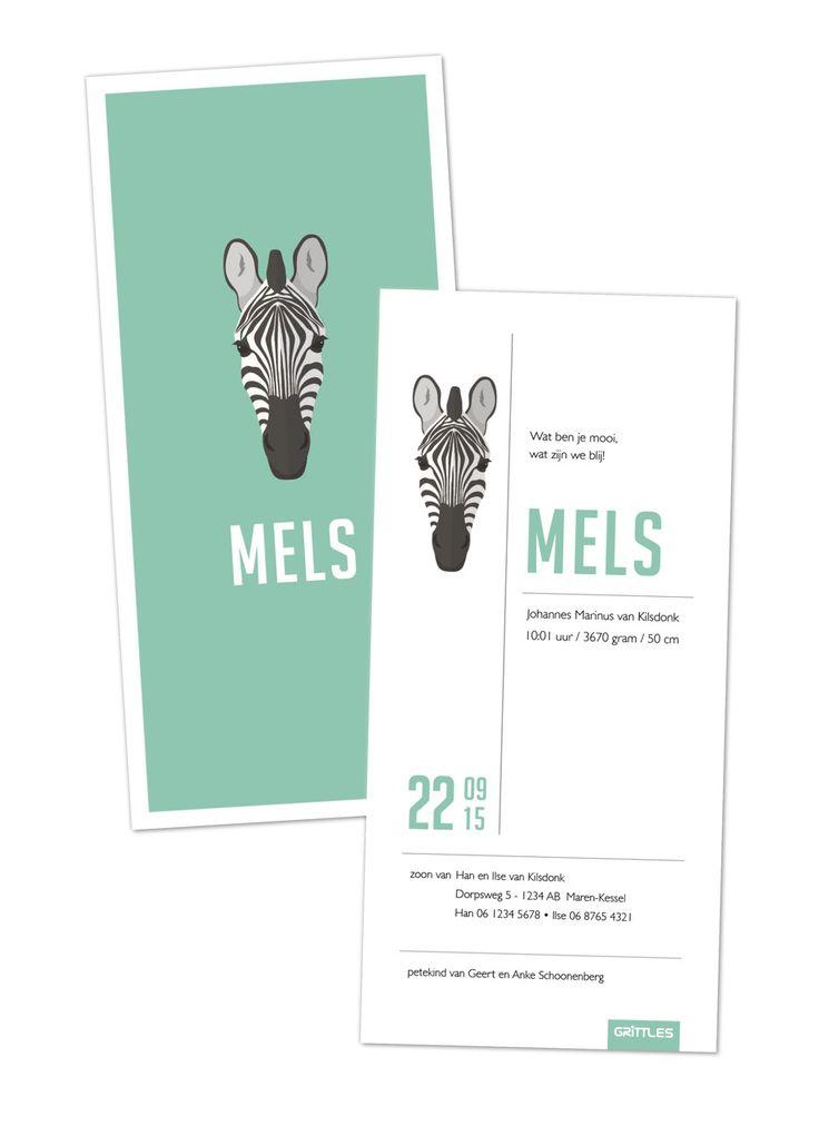 Geboortekaartje voor Mels - jongen, turquoise, zebra, modern, strak www.grittles.nl