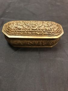 Antique Brass Trinket Box Small Hinged Floral Design Oval Shaped  | eBay