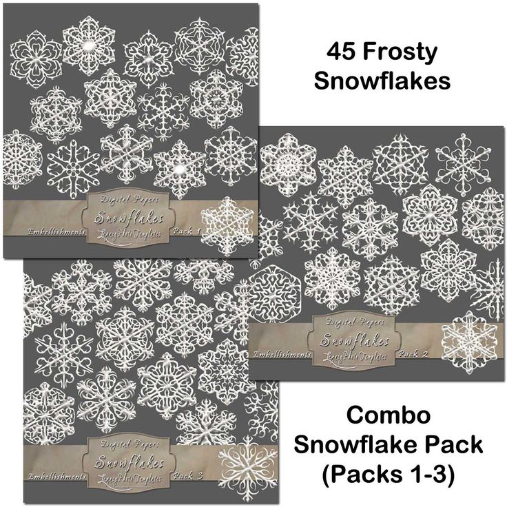 45 Frosty Snowflake Overlays - Combo Pack  $12.75 #snowflakes, #white, #frosty, #winter, #embellishment, #scrapbooking