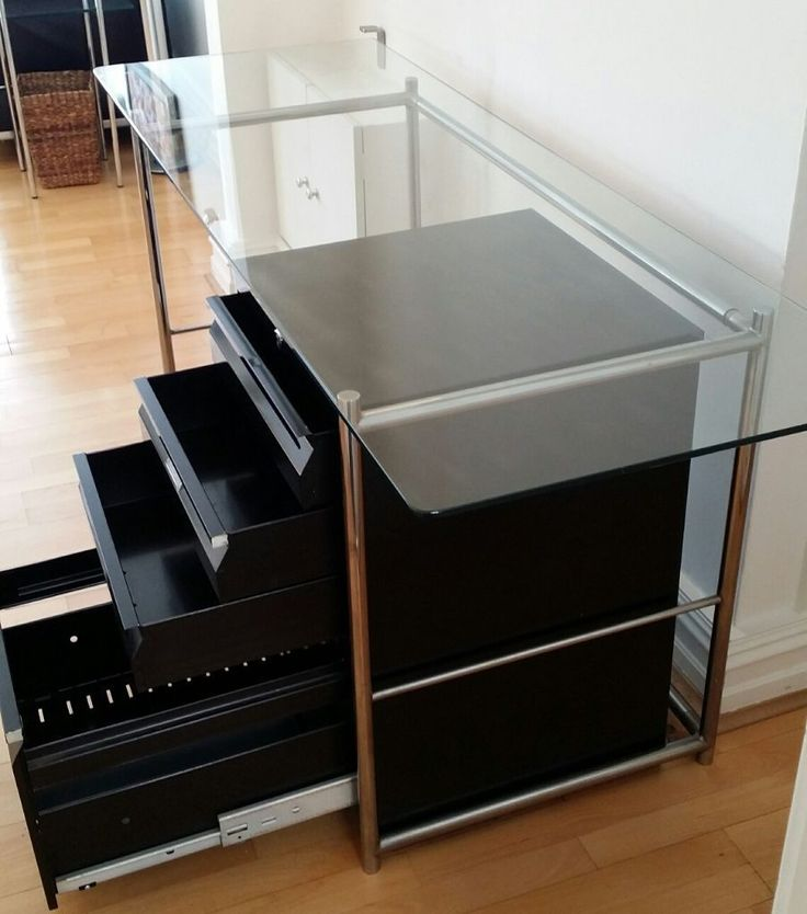 Vintage Glass Table With Chrome Legs And Black Metallic Filling Cabinet