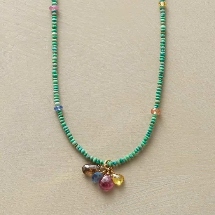 "SPRINKLING OF SAPPHIRES NECKLACE -- Highlighting the many moods of sapphire, Polly Hart dangles multicolored briolettes from teeny turquoise beads and dots the strand with matching rondelles. 18kt gold hook. Sundance exclusive handmade in USA. 16""L."