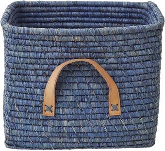 rice Förvaringskorg m Läderhandtag Blå | Innredning Oppbevaring | Jollyroom