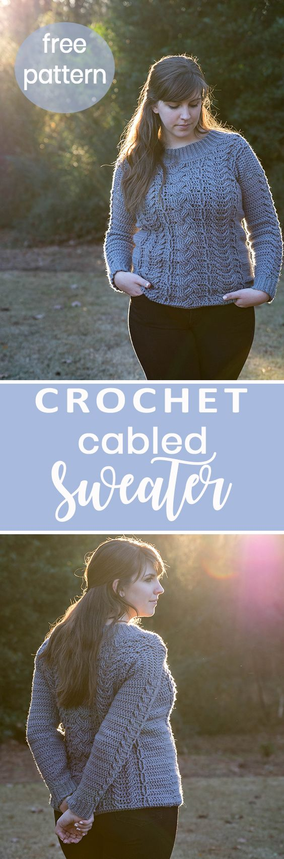 Crochet this detailed knit like cabled pullover sweater top with my free crochet pattern and video tutorial!