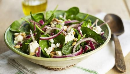 Spinach, feta and pine nut salad