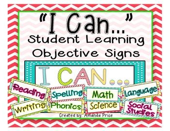 "Display your classroom learning objectives with these BRIGHT and COLORFUL printable signs! This is a high resolution PDF file ready for you to print and laminate. I put magnetic strips on the back of mine to use on my whiteboard. In this kit:**Full page ""I Can..."" letters**8 Subject Signs: Math, Reading, Spelling, Phonics, Science, Social Studies, Language, Writing**4 Blank SignsNEW UPDATES:**5 Subject Signs: Grammar, Language Arts, History, D.O.L, and Common Core**EDITABLE version!!"