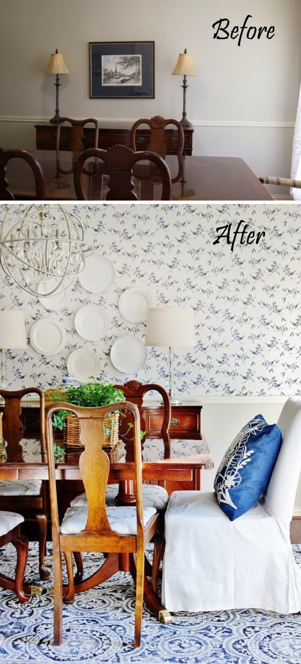 Before and After Dining Room.thanks to the transformation, the room exudes a contemporary charm with its pretty patterned wallpaper and upholstered large chair, creating a catchy contrast with the royal blue rug on the floor. The chic chandelier and the clutter of white plates set against the pretty wallpaper make for great conversation-starters! via thistlewoodfarms