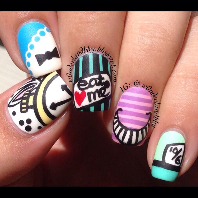 Alice in wonderland nail art with a matte top coat.