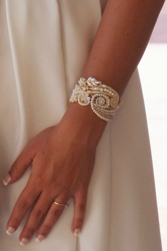 Wedding Cuff Beaded Bracelet  Bead Embriodered Jewelry by carellya, $95.00