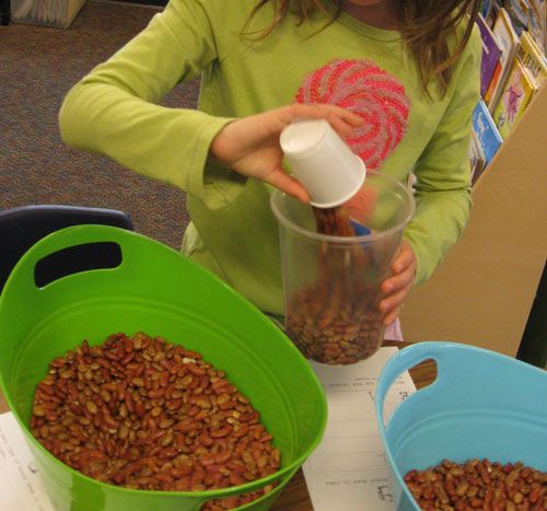 Measuring activities help children learn about capacity through hands-on exploration.  Dried beans should never be swallowed, so use alternative materials (like water) with younger children.