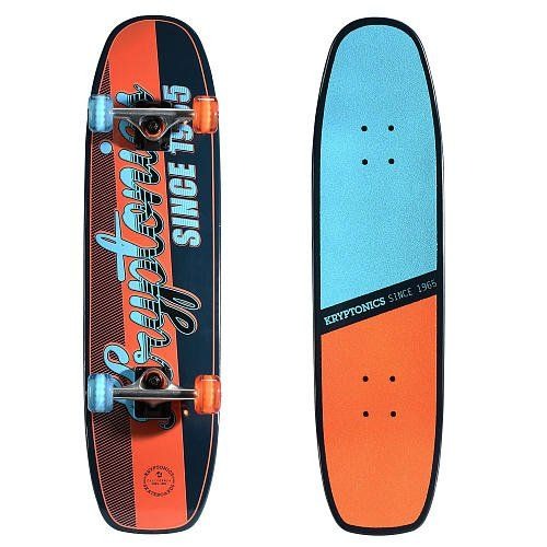 """Kryptonics 31 Inch Supreme Series Skateboard - Saloon Navy. 31 inch x 8 inch 7-ply pro concave maple deck with a double kicktail. 2 piece Split 80AB griptape (Horizontally) with thin logo print on top deck. 5.5 inch Heavy-duty aluminum Krypto """"Seagull STYLE"""" trucks with an all stone finish. 58 millimeter x 36 millimeter, PU Injected polyurethane wheels with traction grooves. Carbon steel ABEC 5 bearings."""