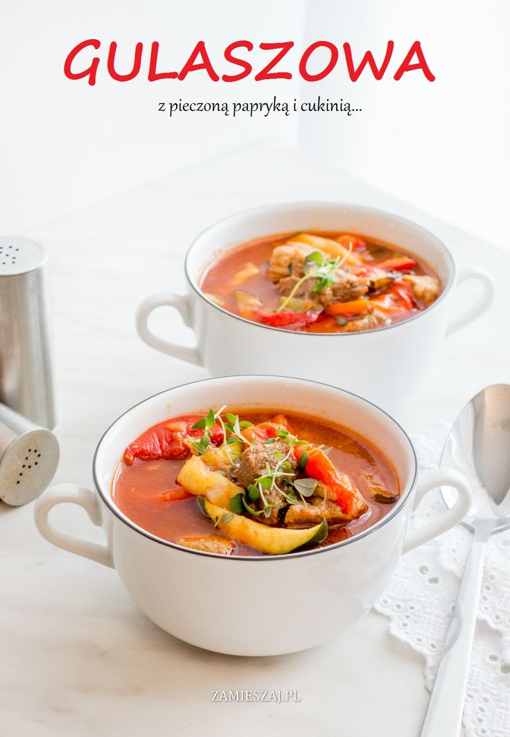 Gulash soup with zucchini and roasted peppers