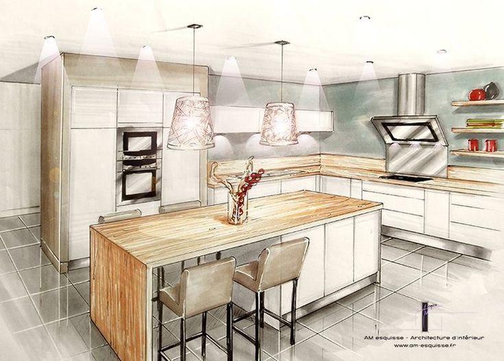 2213 best interior perspective drawings images on - Cuisine architecte d interieur ...