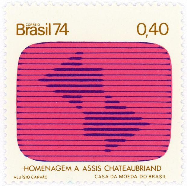 Brazil postage stamp: tv screen