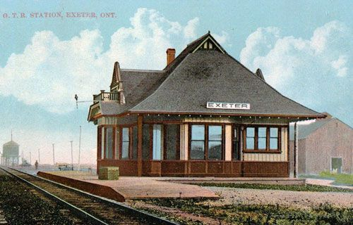 EXETER, Ontario - Grand Trunk Railway station - ca 1909 vintage pc