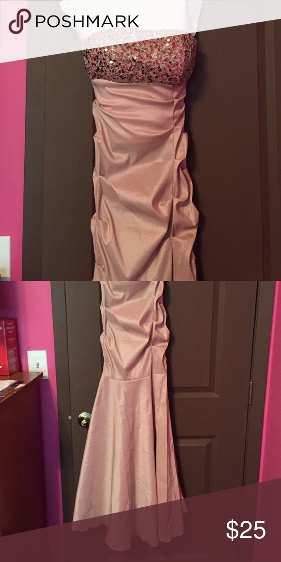 Champagne color, mermaid style prom dress Sequined top, mermaid style, form-fitting champagne colored prom dress Blondie Nites Dresses Prom