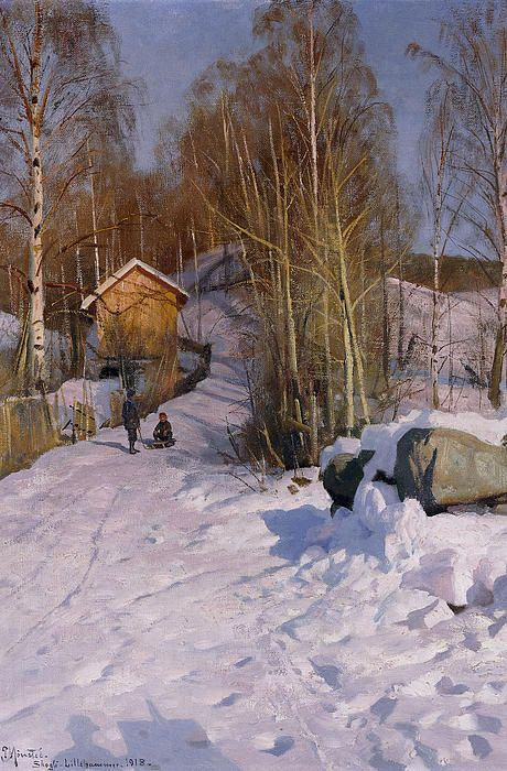 DescriptionA Winter Landscape with Children Sledging, 1918 (oil on canvas) by Monsted, Peder (1859-1941)