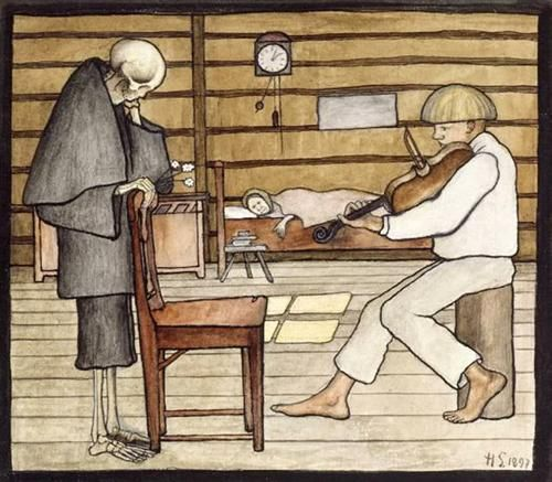 Hugo Simberg, Death Listens, 1897, Watercolour