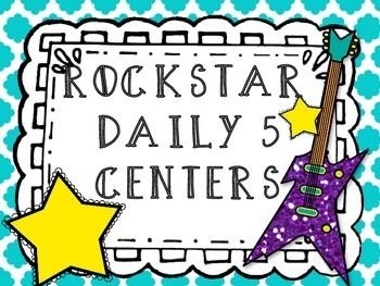 Rockstar Classroom-  Cute Daily 5 Center Posters, bright and colorful