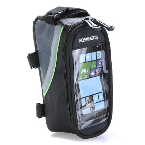 Bike Bicycle Frame Front Tube Bag Transparent PVC with Audio Extension Line for 4.2 Cellphone Green