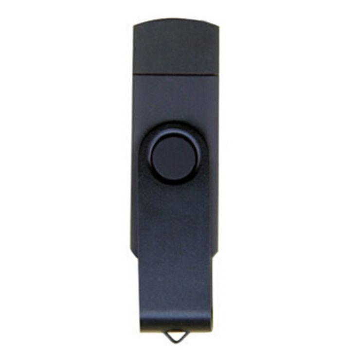 16GB Double Plug Cellphone/PC USB Storage Flash Drive Memory Stick/Disk Black