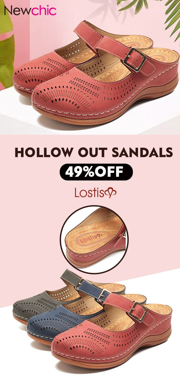 a00437e1247d  47% off LOSTISY Metal Buckle Hollow Out Open Heel Casual Wedges Sandals.  shoes  womenfashion  sandals