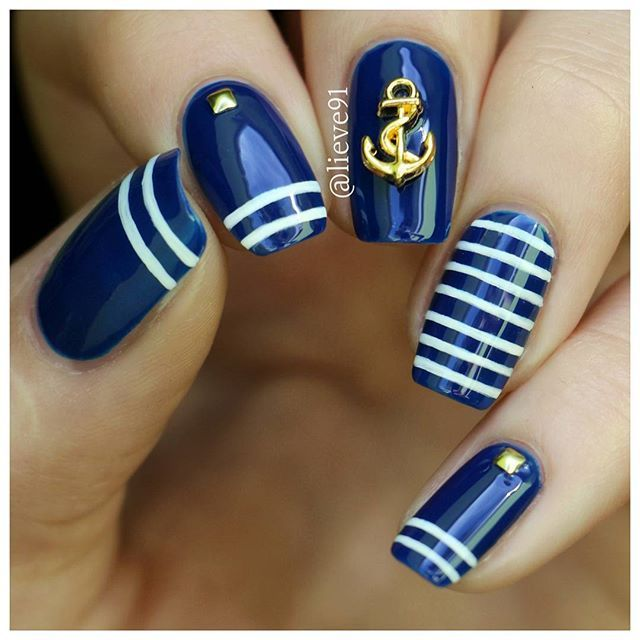 Navy Blue and White Nautical Nails With Anchor ⚓️.