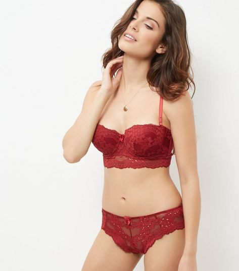 Dark Red Daisy Lace Longline Strapless Bra | New Look