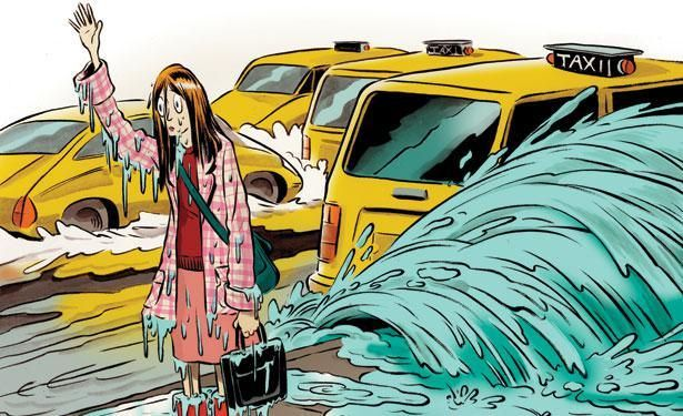 Cartoon Illustration credit to New Yorker Magazine - lady can't get cab in the rain: