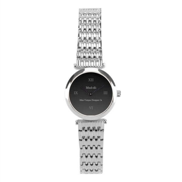 Charcoaled Silver Fine Watch Women's Stainless Steel Wrist Watch... ($78) ❤ liked on Polyvore featuring jewelry, watches, bezel watches, stainless steel wrist watch, formal jewelry, silver watches and silver digital watches
